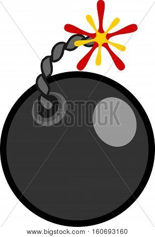 Flat style cartoon bomb with burning fuse on a white background