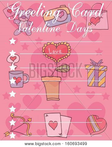 Illustration of valentine day card style collection stock