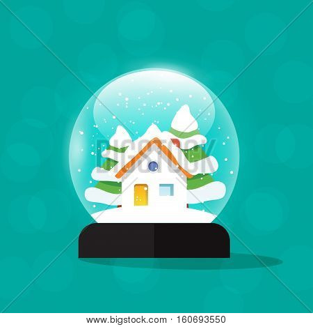 Snow globe house vector illustration, snowglobe home snowdrift, snowfall isolated, merry christmas snow globes with fir trees, new year tree and gift, flat modern design