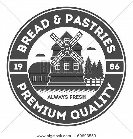 Bakery shop vintage isolated label vector. Bread and cake house symbols. Sweet bakery icon. Cakes and pastries logo on white background