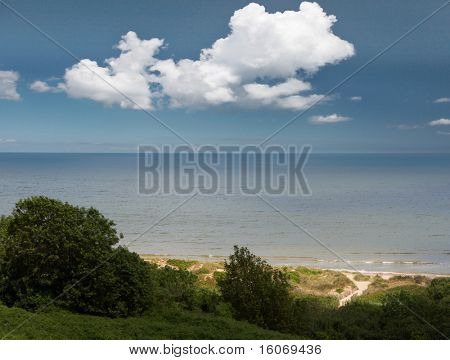 View on Omaha beach, seen from the American cemetary in Normandy, France