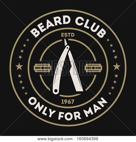 Barber shop vintage isolated label vector illustration. Hairdresser and gentleman symbols. Beard club logo. Best style for man concept. Mans shop retro brand. Shave me sign. Barber shop logo template. Barbershop icon or beard club. Barbershop badge.