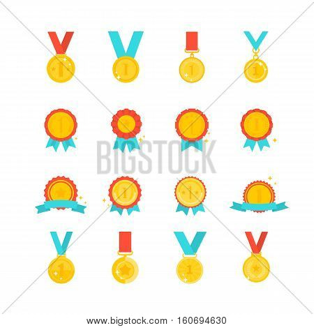 Gold medal with ribbon set on white background vector. Winner award label, golden trophy medal, success and victory colorful prize sticker. Gold winner emblem collection. Winner badge set. Gold medal collection. Award icon, champion gold medal
