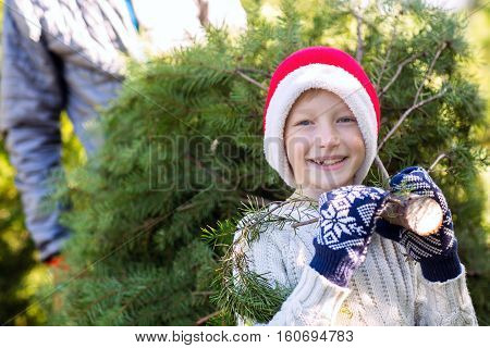 beautiful smiling boy in santa's hat sweater and mittens holding with his father christmas tree holiday concept