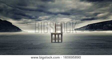 Wooden Chair Against Landscape