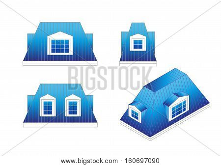 set types of a mansard roof with different angles. pitched mansard roof with dormer windows. Building roof type: mansard roof.