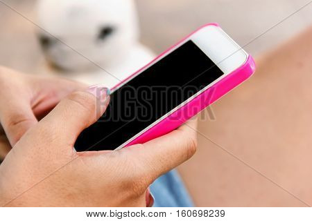 Woman Holding A Smart Phone,   Internet 4 G,