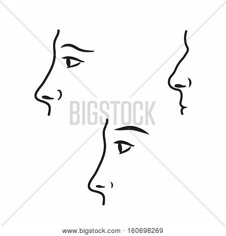 Nose vector icons set. Illustration isolated for graphic and web design.