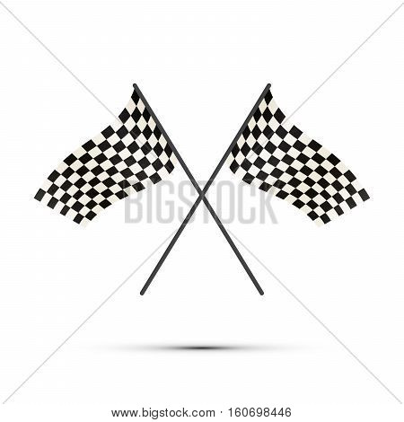 Two crossed finish flags with shadow isolated on white