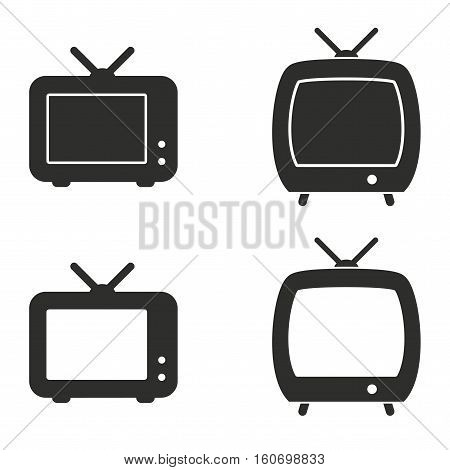 TV vector icons set. Illustration isolated for graphic and web design.