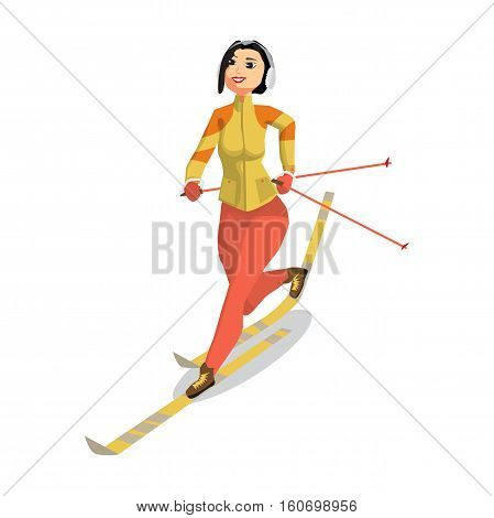 Pretty young woman on cross country skiing on isolated background. Flat cartoon vector illustration