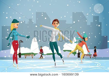 Winter sports. Figures Skating. Women skating at the rink in the day. Flat cartoon vector illustration