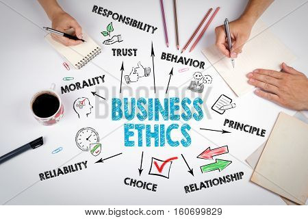 Business Ethics Concept. The meeting at the white office table.