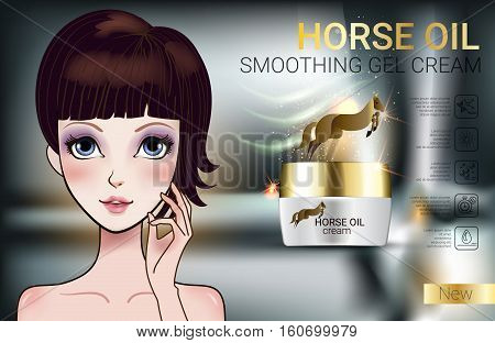 Horse Oil Cream ads. Vector Illustration with Manga style girl and horse oil Cream container.