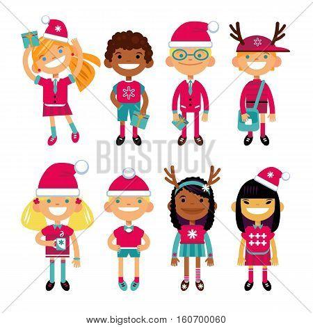 Set of characters schoolchild in Christmas costumes, the Fun in the New Year. Schoolboys and schoolgirls different nationalities. Vector illustration of a flat design