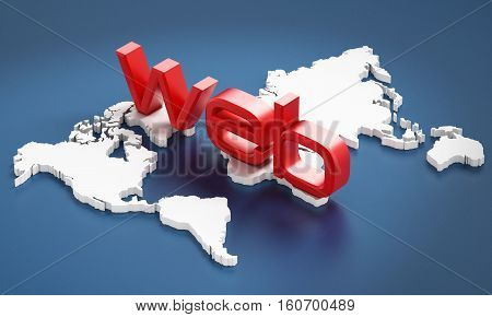 Red web word on Earth map. 3D illustration.