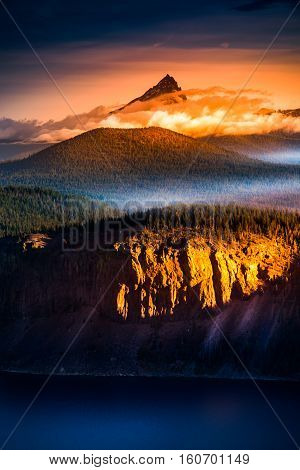 Mt Thielsen At Sunrise Oregon Landscape Vertical Composition
