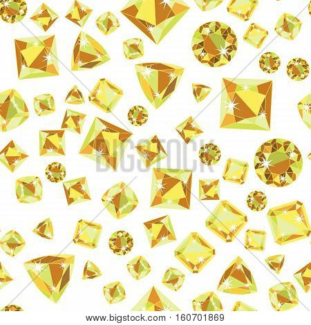 Seamless pattern with green yellow scattered precious gem Citrine from different cuts on white background. Vector illustration