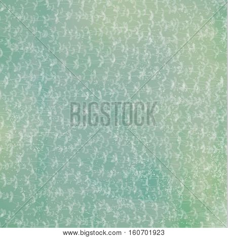 Vector beautiful floral pattern with branches and leaves. Green background with old scratched texture, dirt and spots.