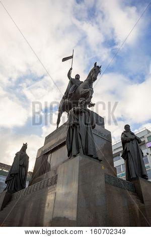 Saint Wenceslas Statue On Vaclavske Namesti In Prague
