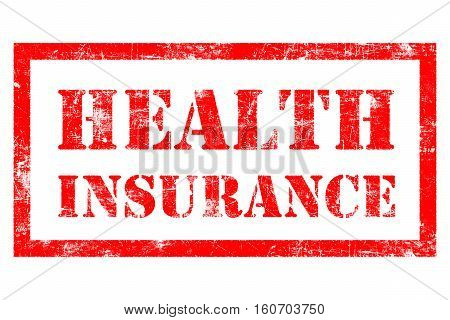 Health Insurance rubber stamp in red ink with white background