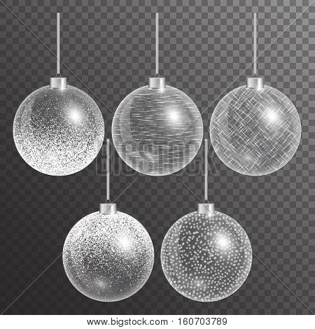 Christmas decoration white background. New years eve ball. Bokeh lights. Set of seasonal items for the holiday. Vector illustration of a transparent backdrop.