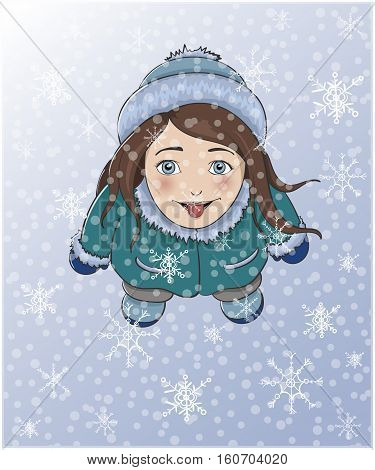 Cute winter girl catching snowflakes with tongue. Plan view.