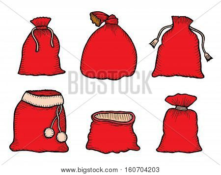 Canvas sack vector. canvas bag. Illustration of a canvas sack. Christmas bag. Santa Claus red bag