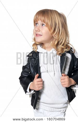 Portrait of exited little boy with long blond hair looking at the distance isolated on white background