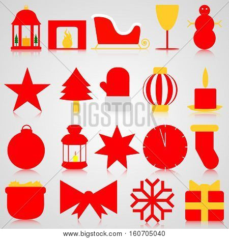 Red icons with Christmas paraphernalia on a gray background