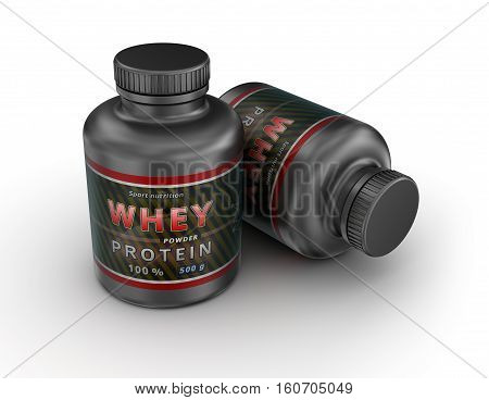 WHEY Protein Container. Sport Nutrition. 3D illustration