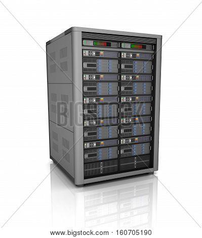 Server storage database icon over white. 3D illustration
