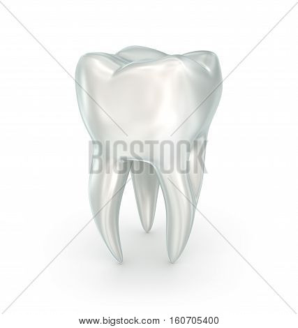 Tooth over white surface. 3d illustration, render