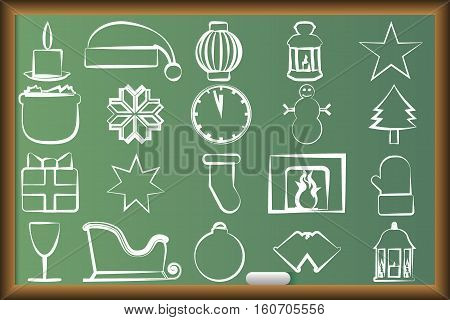 Drawn icons with Christmas paraphernalia on the school board
