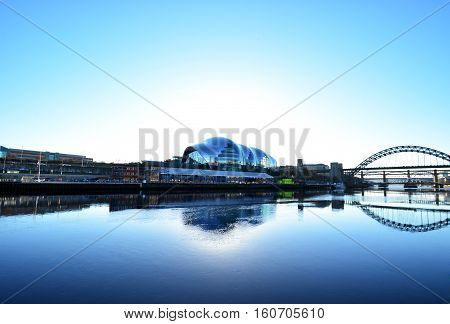 at the morning in Newcastle city river side ,Gateshead,New Tyne Bridge,January 4,2016