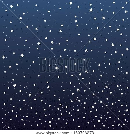 snow and stars with dark blue gradation background