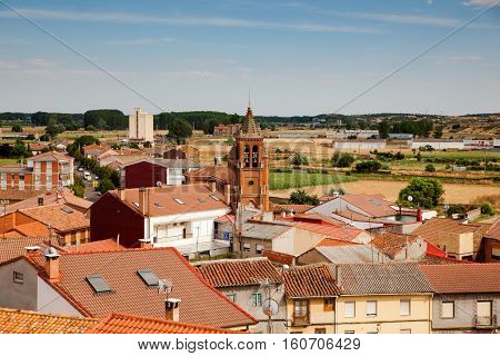 View of church belltower and Astorga houses Spain