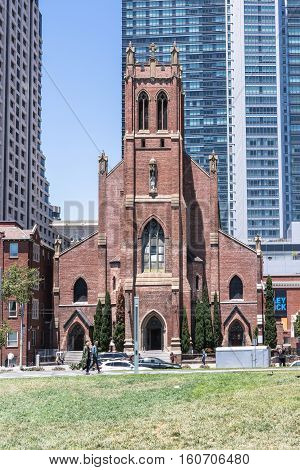 San Francisco,California,USA - July 3, 2016 : San Patrick Church seen from Yerba Buena Gardens