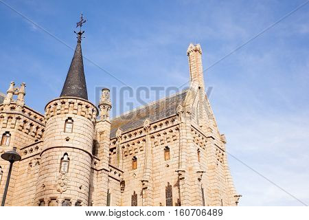 View of the Episcopal Palace Modernisme edifice in Astorga