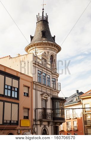 View of belltower of a Church in Astorga spain