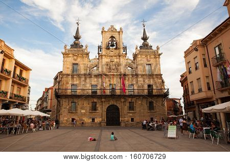 ASTORGA SPAIN - AUGUST 03: Town hall of Astorga called Casas consistoriales on August 03 2016