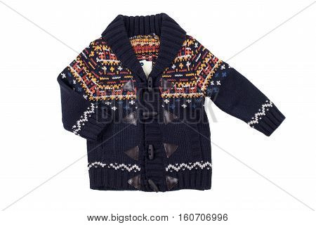 Children warm vest (sweater) isolated on white