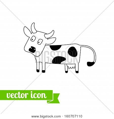 Cow icon vector, flat cow icon , icon for web design, stock vector, logo, cow close up, cow pictogram