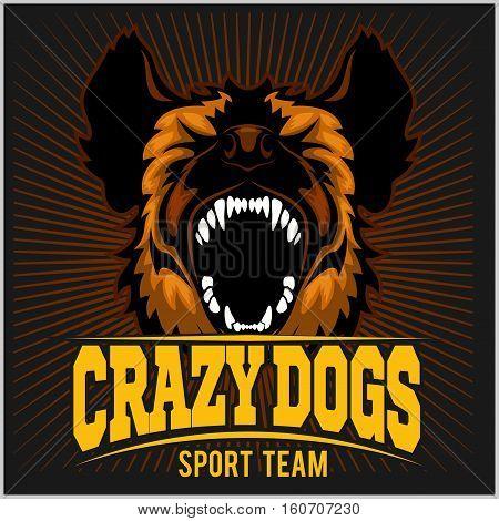 Stylized dog head - crazy dogs. Sport team