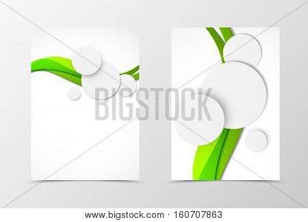 Front and back wave flyer template design. Abstract template with green lines and paper gray circles in dynamic style. Vector illustration