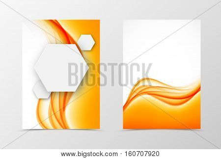 Front and back digital flyer template design. Abstract template with orange lines and gray paper hexagons in dynamic soft style. Vector illustration