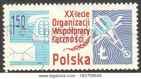 MOSCOW RUSSIA - CIRCA NOVEMBER 2016: a post stamp printed in POLAND dedicated to The 20th Anniv. of the Organisation of the Socialist Countries for Co-operation in Post and Telecommunic circa 1986