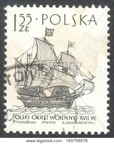 MOSCOW RUSSIA - CIRCA NOVEMBER 2016: a post stamp printed in POLAND shows a Polish warship 1627 the series