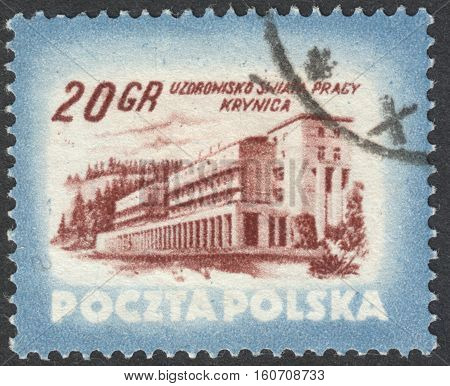 MOSCOW RUSSIA - CIRCA NOVEMBER 2016: a post stamp printed in POLAND shows Krynica health resort the series