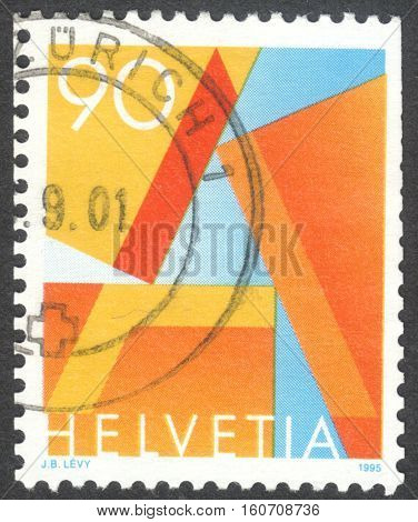 MOSCOW RUSSIA - CIRCA NOVEMBER 2016: a post stamp printed in SWITZERLAND First Class Mail circa 1995
